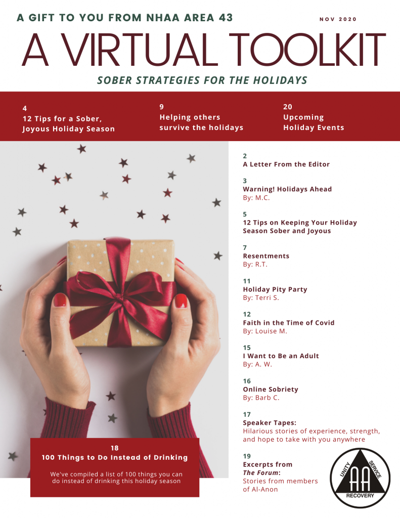 Sober Strategies for the Holidays compliments of NH Area 43